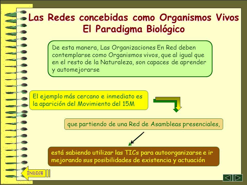 36 ÍNDICE Las Redes concebidas como Organismos Vivos El Paradigma Biológico ÍNDICE Toda la naturaleza se desarrolla relacionándose como una Red, capaz