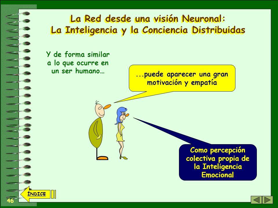 45 ÍNDICE La Red desde una visión Neuronal: La Inteligencia y la Conciencia Distribuidas La Cooperación entre los Nodos Personales puede generar una a