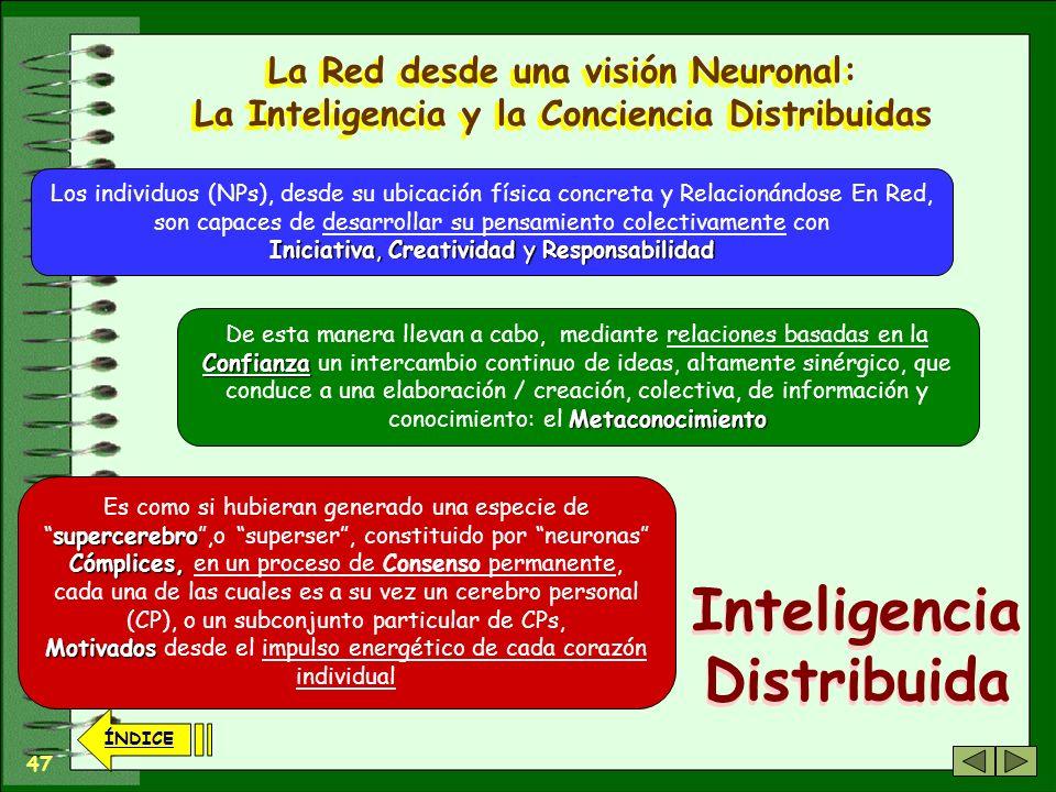 46 ÍNDICE La Red desde una visión Neuronal: La Inteligencia y la Conciencia Distribuidas...puede aparecer una gran motivación y empatía Y de forma sim