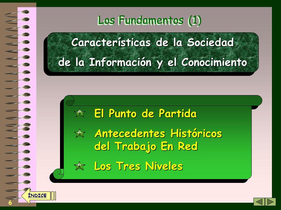 6 Los Fundamentos (1) Características de la Sociedad de la Información y el Conocimiento Características de la Sociedad de la Información y el Conocimiento El Punto de Partida Antecedentes Históricos del Trabajo En Red Los Tres Niveles El Punto de Partida Antecedentes Históricos del Trabajo En Red Los Tres Niveles ÍNDICE