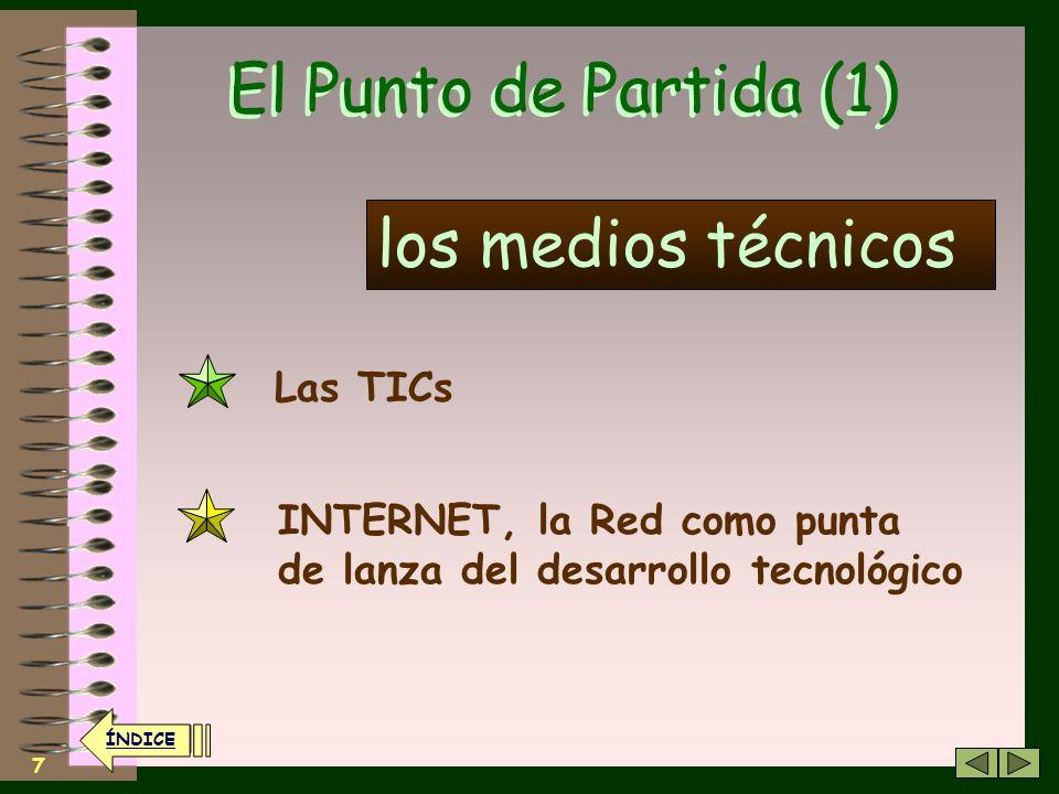 7 El Punto de Partida (1) Las TICs los medios técnicos INTERNET, la Red como punta de lanza del desarrollo tecnológico ÍNDICE