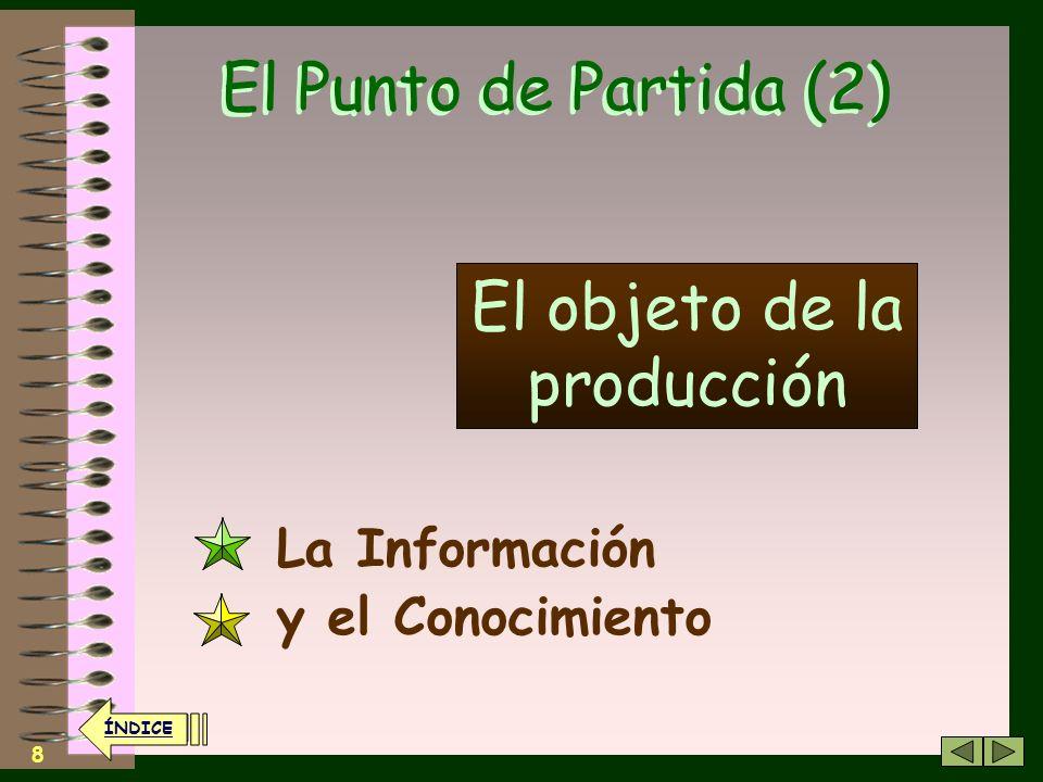 8 El Punto de Partida (2) La Información y el Conocimiento El objeto de la producción ÍNDICE