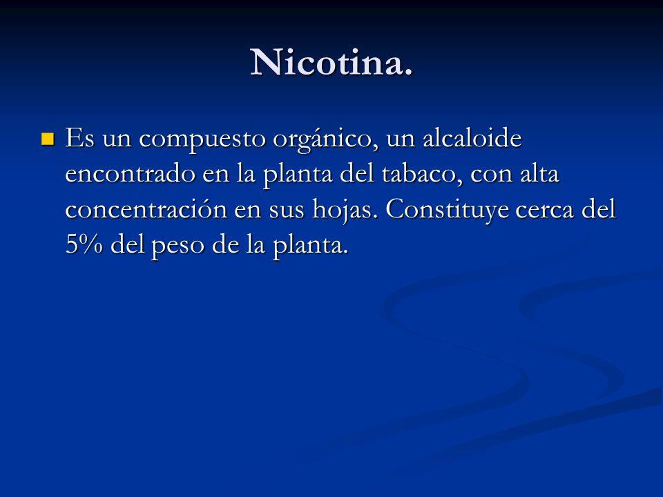 Nicotina. Es un compuesto orgánico, un alcaloide encontrado en la planta del tabaco, con alta concentración en sus hojas. Constituye cerca del 5% del