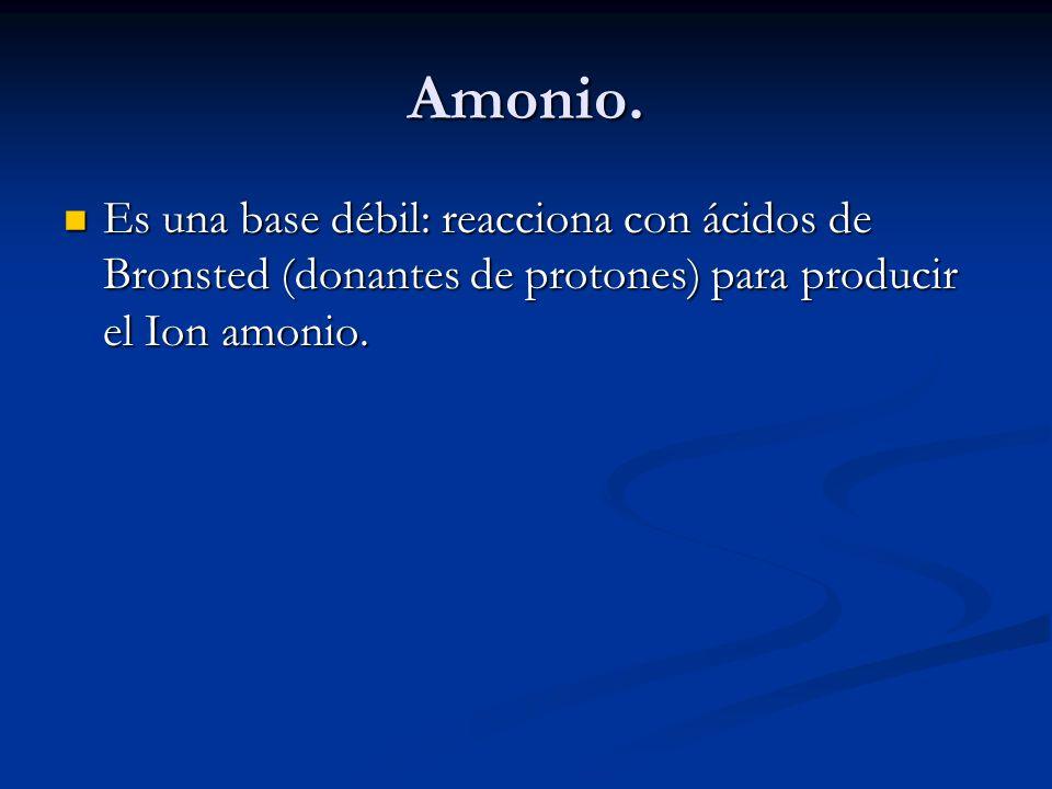 Amonio. Es una base débil: reacciona con ácidos de Bronsted (donantes de protones) para producir el Ion amonio. Es una base débil: reacciona con ácido
