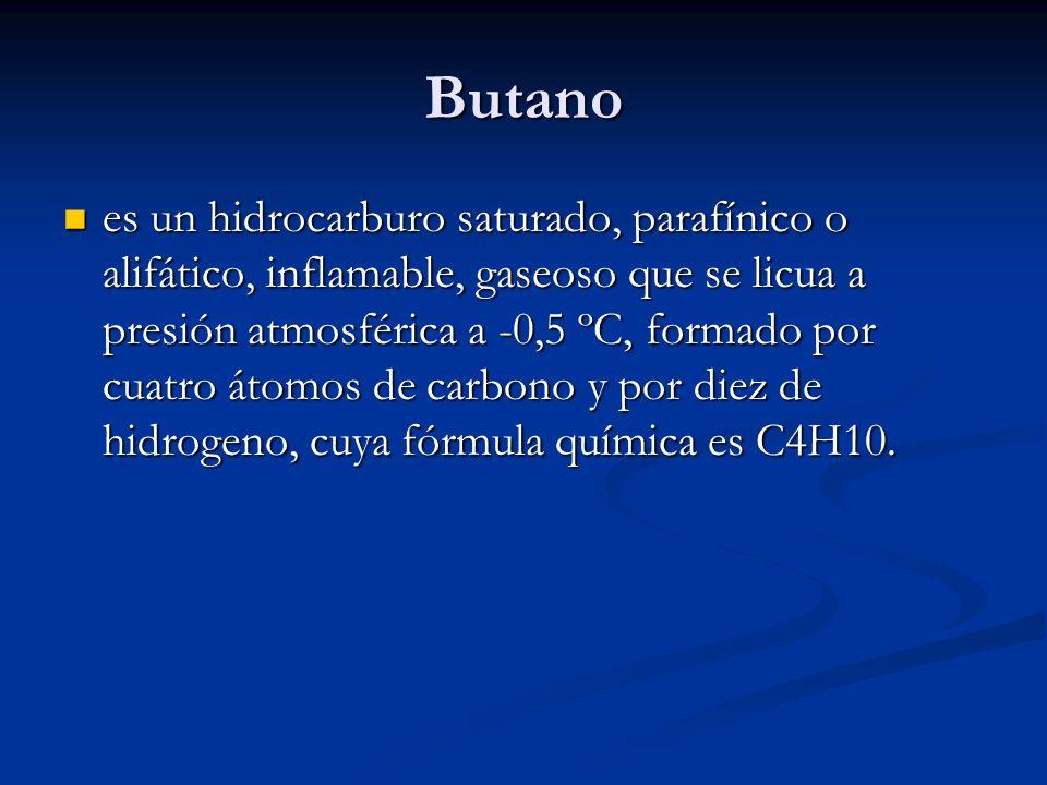 Butano es un hidrocarburo saturado, parafínico o alifático, inflamable, gaseoso que se licua a presión atmosférica a -0,5 ºC, formado por cuatro átomo