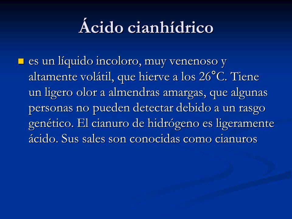 Ácido cianhídrico es un líquido incoloro, muy venenoso y altamente volátil, que hierve a los 26°C. Tiene un ligero olor a almendras amargas, que algun