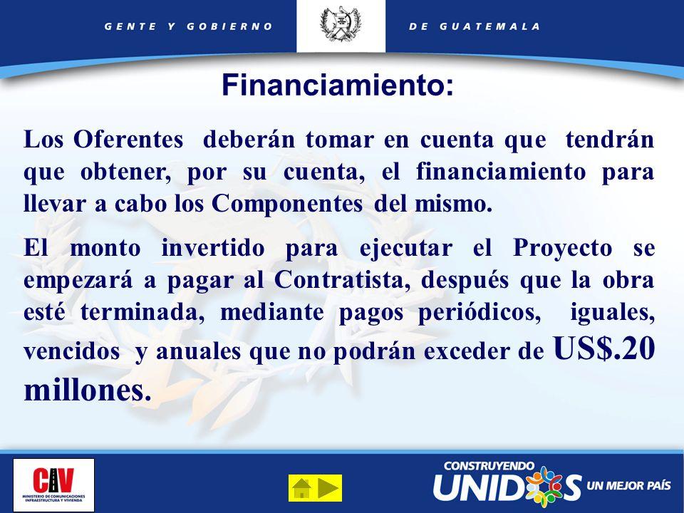 Financiamiento: Los Oferentes deberán tomar en cuenta que tendrán que obtener, por su cuenta, el financiamiento para llevar a cabo los Componentes del