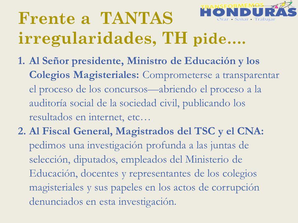 Frente a TANTAS irregularidades, TH pide….