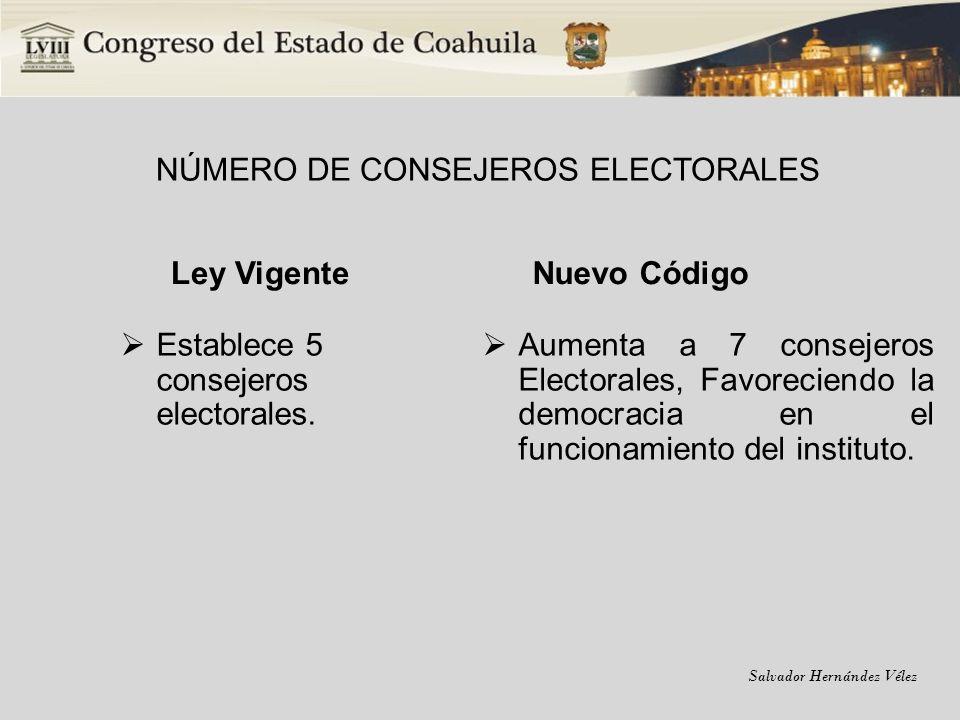 Salvador Hernández Vélez NÚMERO DE CONSEJEROS ELECTORALES Ley Vigente Establece 5 consejeros electorales. Nuevo Código Aumenta a 7 consejeros Electora