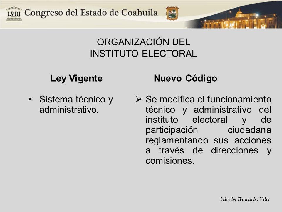 Salvador Hernández Vélez ORGANIZACIÓN DEL INSTITUTO ELECTORAL Ley Vigente Sistema técnico y administrativo. Nuevo Código Se modifica el funcionamiento