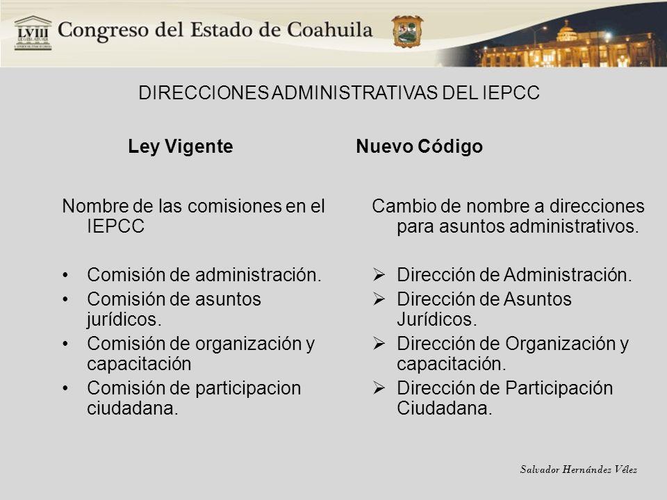 Salvador Hernández Vélez DIRECCIONES ADMINISTRATIVAS DEL IEPCC Ley Vigente Nombre de las comisiones en el IEPCC Comisión de administración. Comisión d