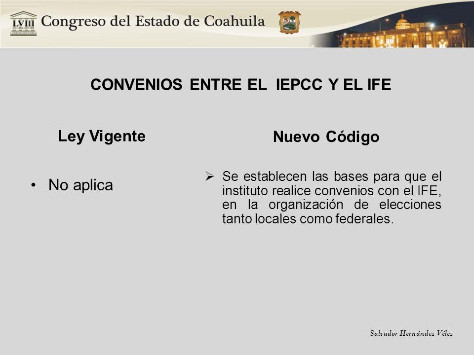 Salvador Hernández Vélez CONVENIOS ENTRE EL IEPCC Y EL IFE Ley Vigente No aplica Nuevo Código Se establecen las bases para que el instituto realice co