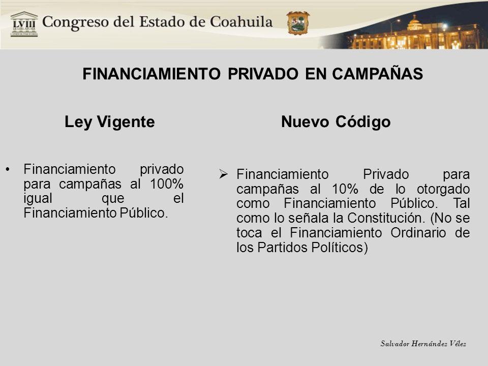 Salvador Hernández Vélez FINANCIAMIENTO PRIVADO EN CAMPAÑAS Ley Vigente Financiamiento privado para campañas al 100% igual que el Financiamiento Públi