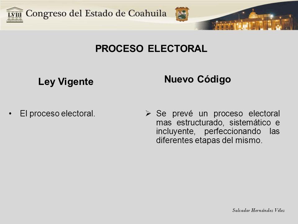 Salvador Hernández Vélez PROCESO ELECTORAL Ley Vigente El proceso electoral. Nuevo Código Se prevé un proceso electoral mas estructurado, sistemático