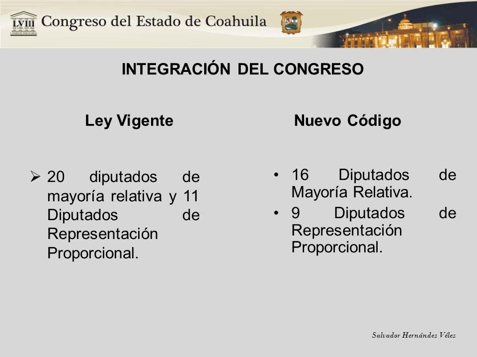 Salvador Hernández Vélez INTEGRACIÓN DEL CONGRESO Ley Vigente 20 diputados de mayoría relativa y 11 Diputados de Representación Proporcional. Nuevo Có