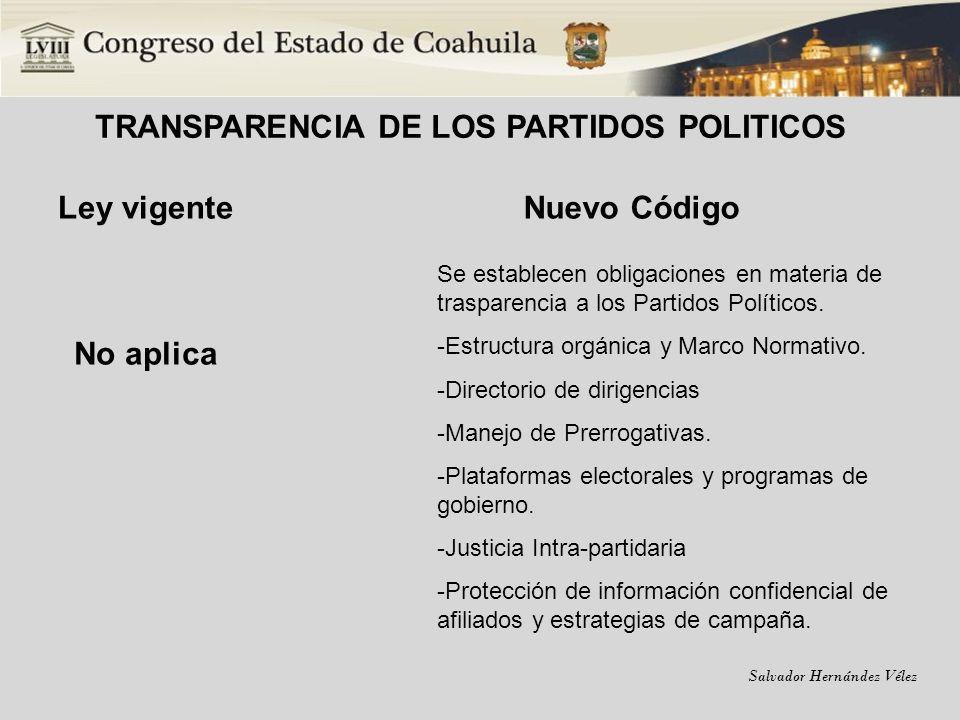 Salvador Hernández Vélez TRANSPARENCIA DE LOS PARTIDOS POLITICOS Ley vigente Nuevo Código No aplica Se establecen obligaciones en materia de trasparen