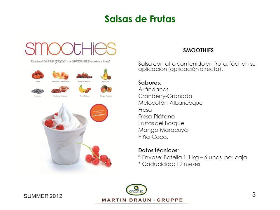 SUMMER 2012 Salsas de Frutas SMOOTHIES Salsa con alto contenido en fruta, fácil en su aplicación (aplicación directa). Sabores : Arándanos Cranberry-G