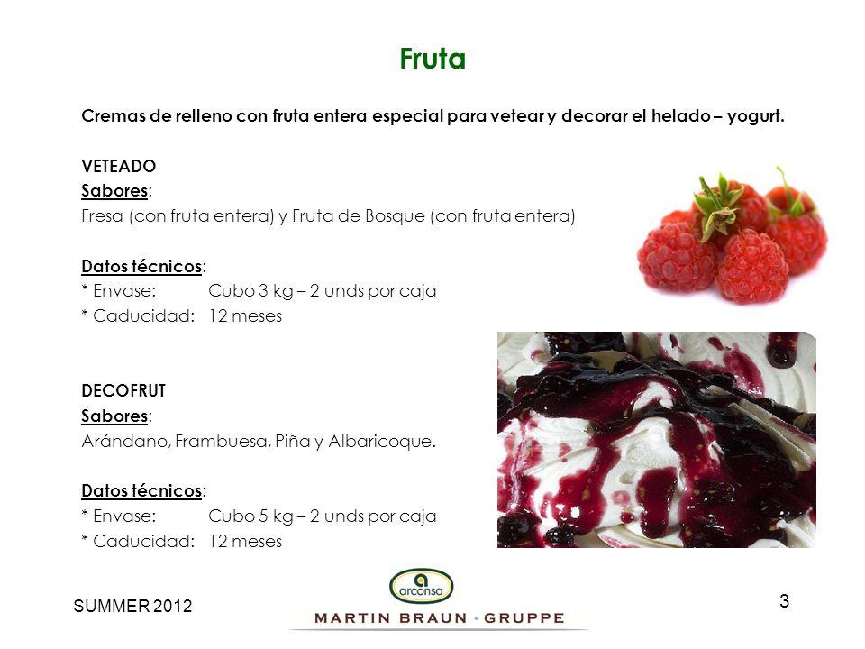 SUMMER 2012 Fruta 3 Cremas de relleno con fruta entera especial para vetear y decorar el helado – yogurt. VETEADO Sabores : Fresa (con fruta entera) y