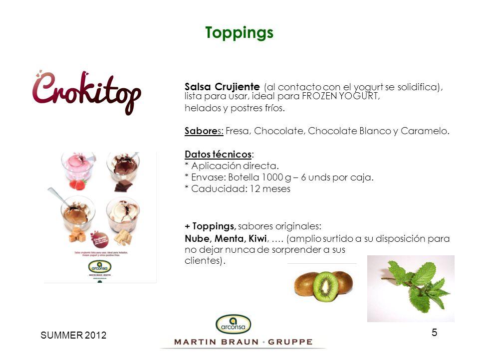 SUMMER 2012 Salsa Crujiente (al contacto con el yogurt se solidifica), lista para usar, ideal para FROZEN YOGURT, helados y postres fríos. Sabore s: F