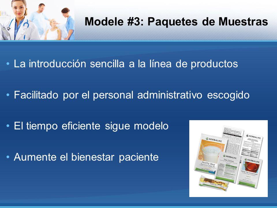 Modele #3: Paquetes de Muestras La introducción sencilla a la línea de productos Facilitado por el personal administrativo escogido El tiempo eficient