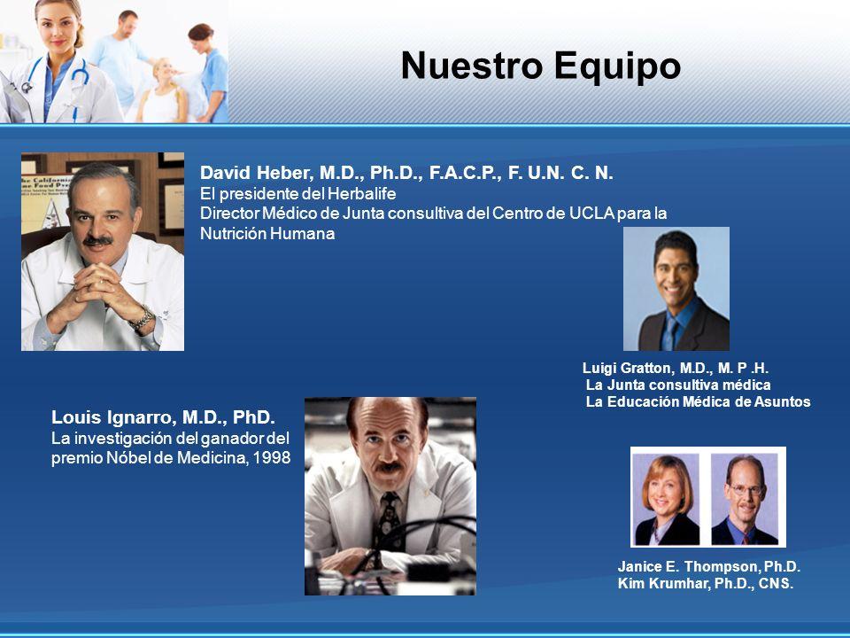 Nuestro Equipo Janice E. Thompson, Ph.D. Kim Krumhar, Ph.D., CNS. David Heber, M.D., Ph.D., F.A.C.P., F. U.N. C. N. El presidente del Herbalife Direct