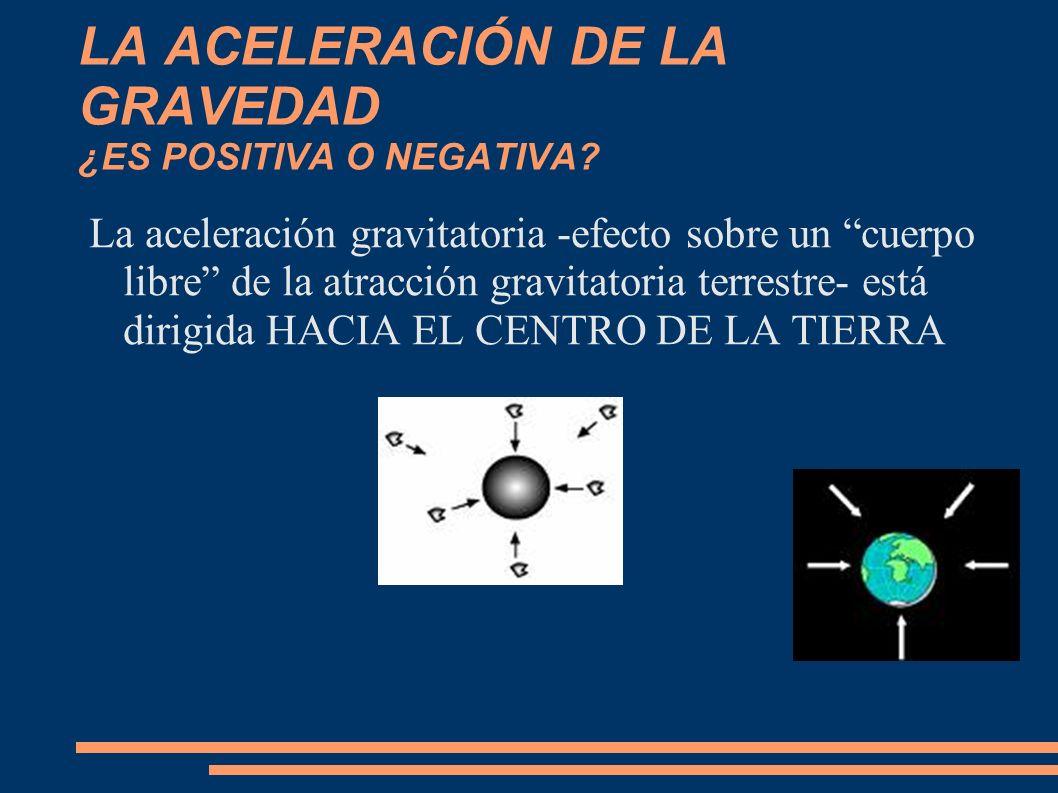 LA ACELERACIÓN DE LA GRAVEDAD ¿ES POSITIVA O NEGATIVA? La aceleración gravitatoria -efecto sobre un cuerpo libre de la atracción gravitatoria terrestr