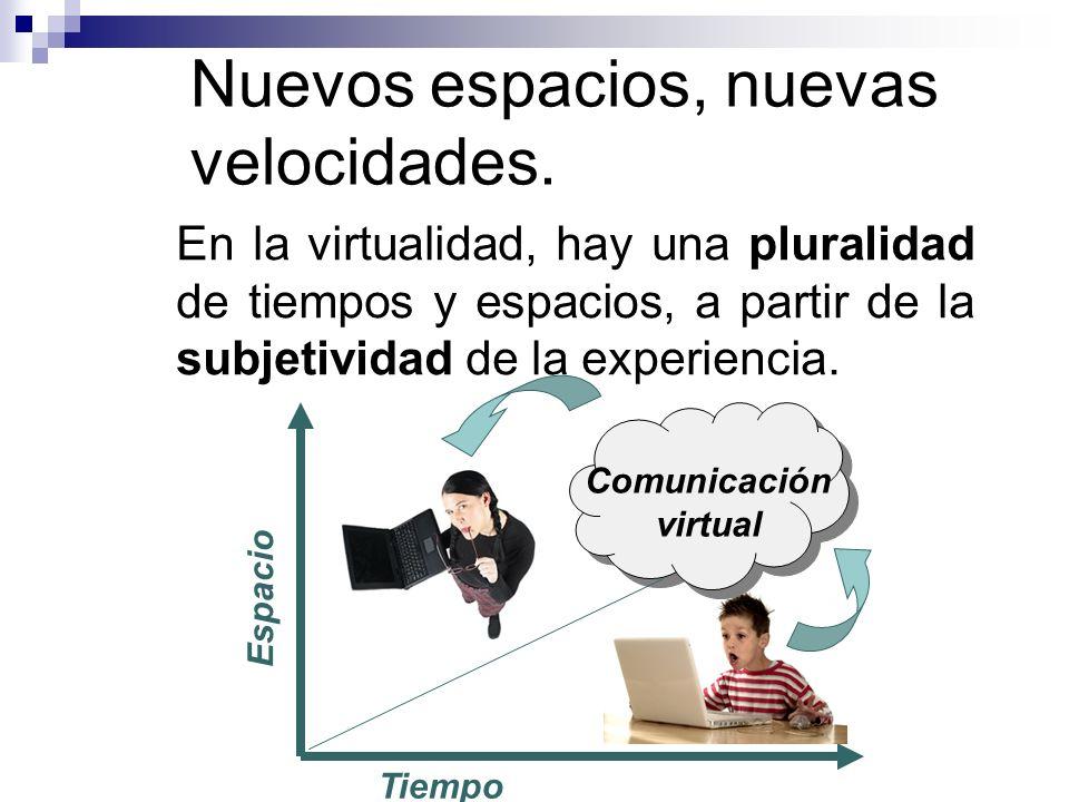 Nuevos espacios, nuevas velocidades. En la virtualidad, hay una pluralidad de tiempos y espacios, a partir de la subjetividad de la experiencia. Espac