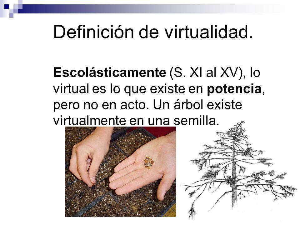 Escolásticamente (S. XI al XV), lo virtual es lo que existe en potencia, pero no en acto. Un árbol existe virtualmente en una semilla.