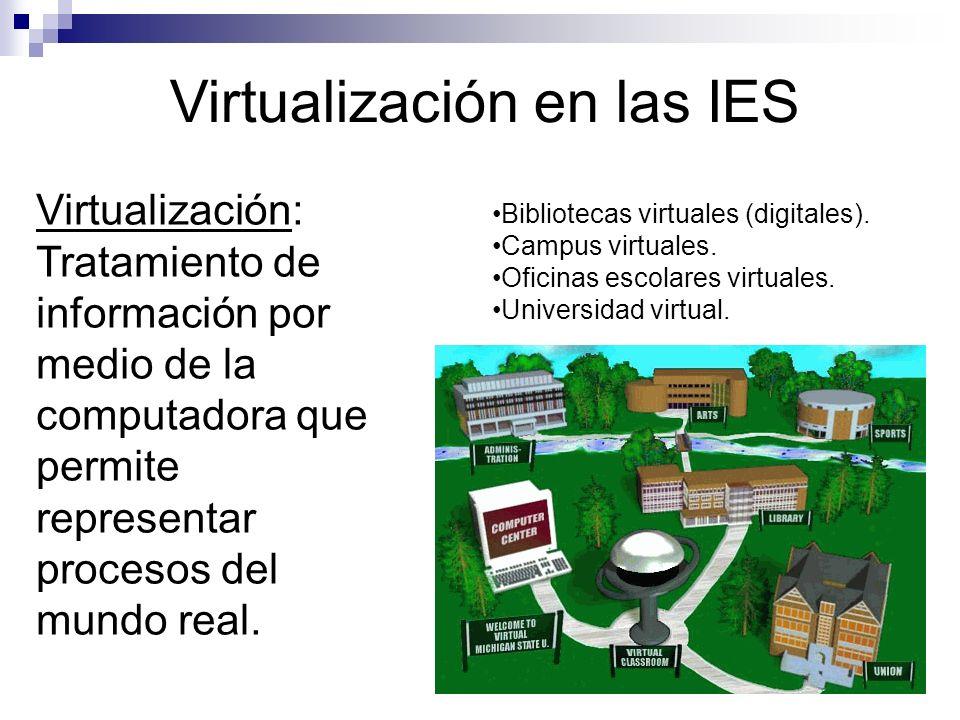 Virtualización en las IES Virtualización: Tratamiento de información por medio de la computadora que permite representar procesos del mundo real.