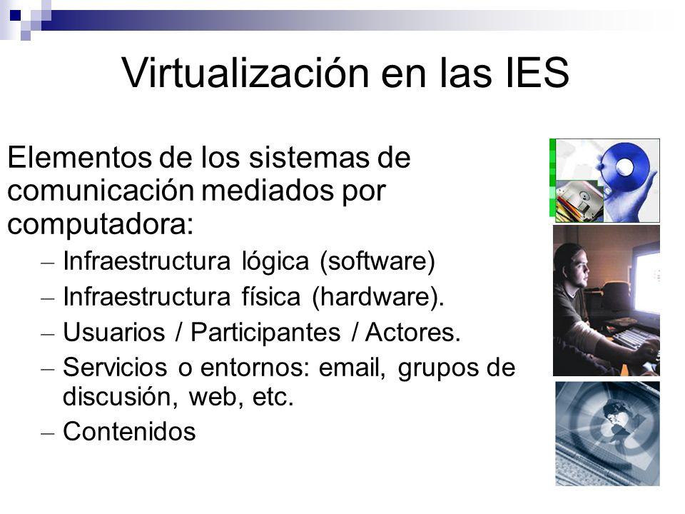 Virtualización en las IES Elementos de los sistemas de comunicación mediados por computadora: – Infraestructura lógica (software) – Infraestructura física (hardware).