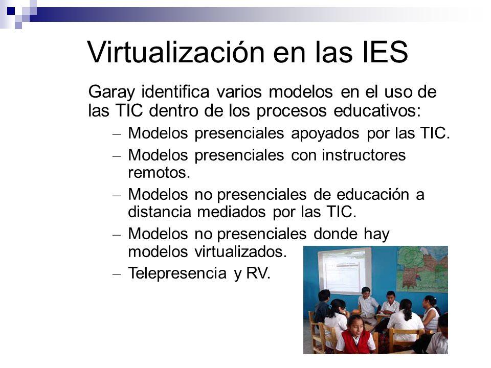 Virtualización en las IES Garay identifica varios modelos en el uso de las TIC dentro de los procesos educativos: – Modelos presenciales apoyados por las TIC.