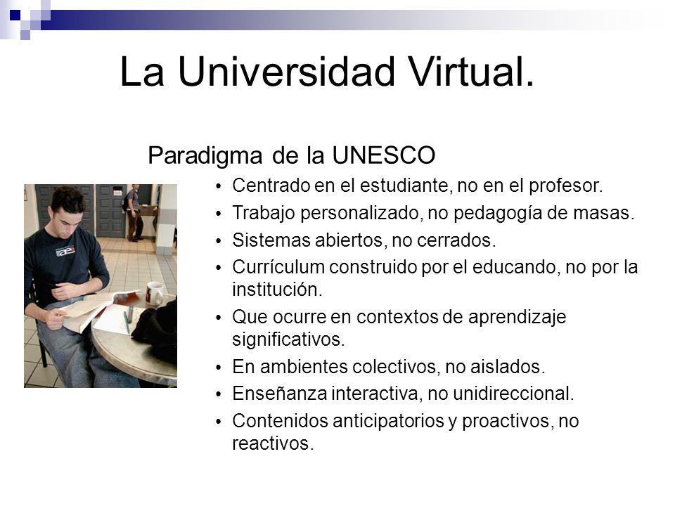 La Universidad Virtual. Paradigma de la UNESCO Centrado en el estudiante, no en el profesor. Trabajo personalizado, no pedagogía de masas. Sistemas ab