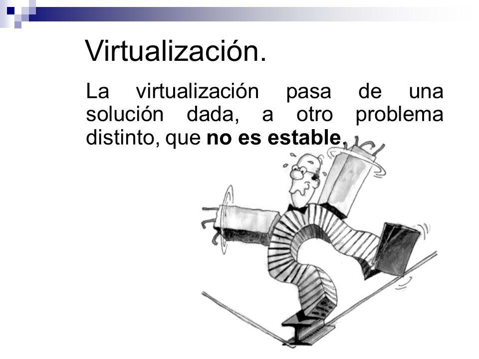 Virtualización. La virtualización pasa de una solución dada, a otro problema distinto, que no es estable.