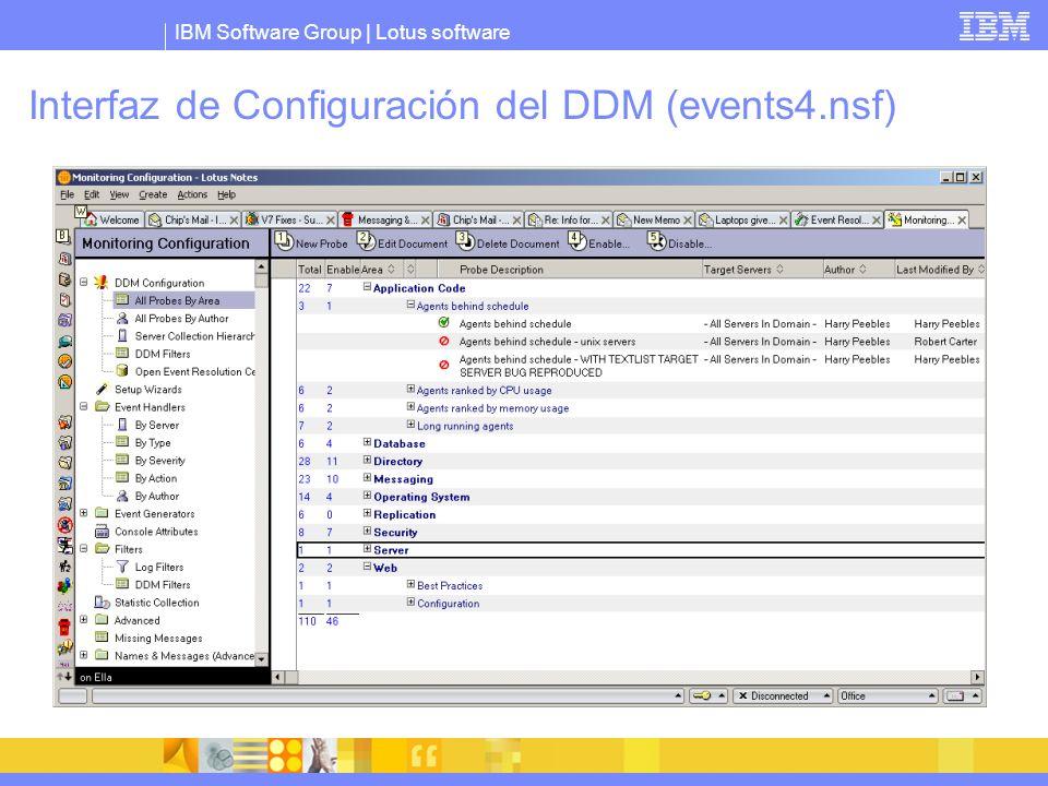 IBM Software Group | Lotus software Interfaz de Configuración del DDM (events4.nsf)