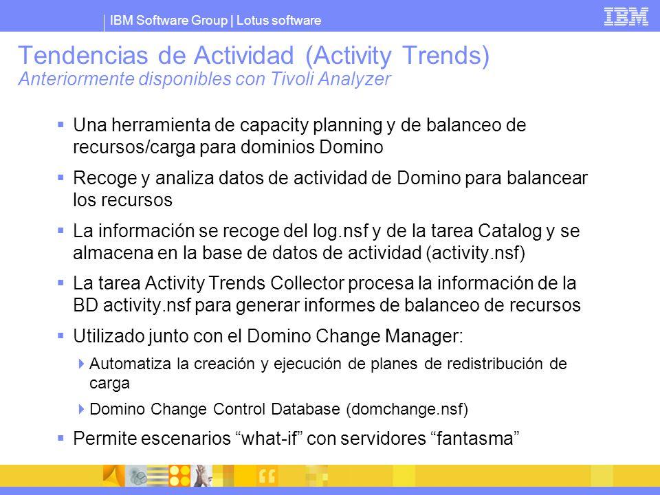 IBM Software Group | Lotus software Tendencias de Actividad (Activity Trends) Anteriormente disponibles con Tivoli Analyzer Una herramienta de capacit