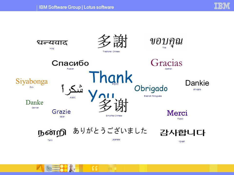 IBM Software Group | Lotus software Thank You Merci Grazie Gracias Obrigado Danke Japanese English French Russian German Italian Spanish Brazilian Por