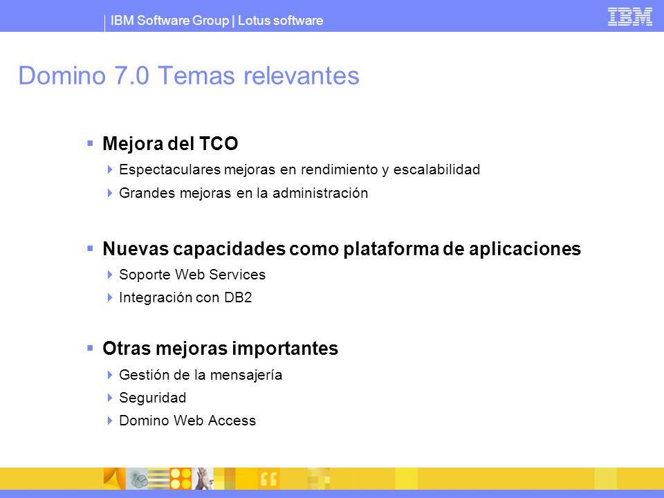 IBM Software Group | Lotus software Domino 7.0 Temas relevantes Mejora del TCO Espectaculares mejoras en rendimiento y escalabilidad Grandes mejoras e