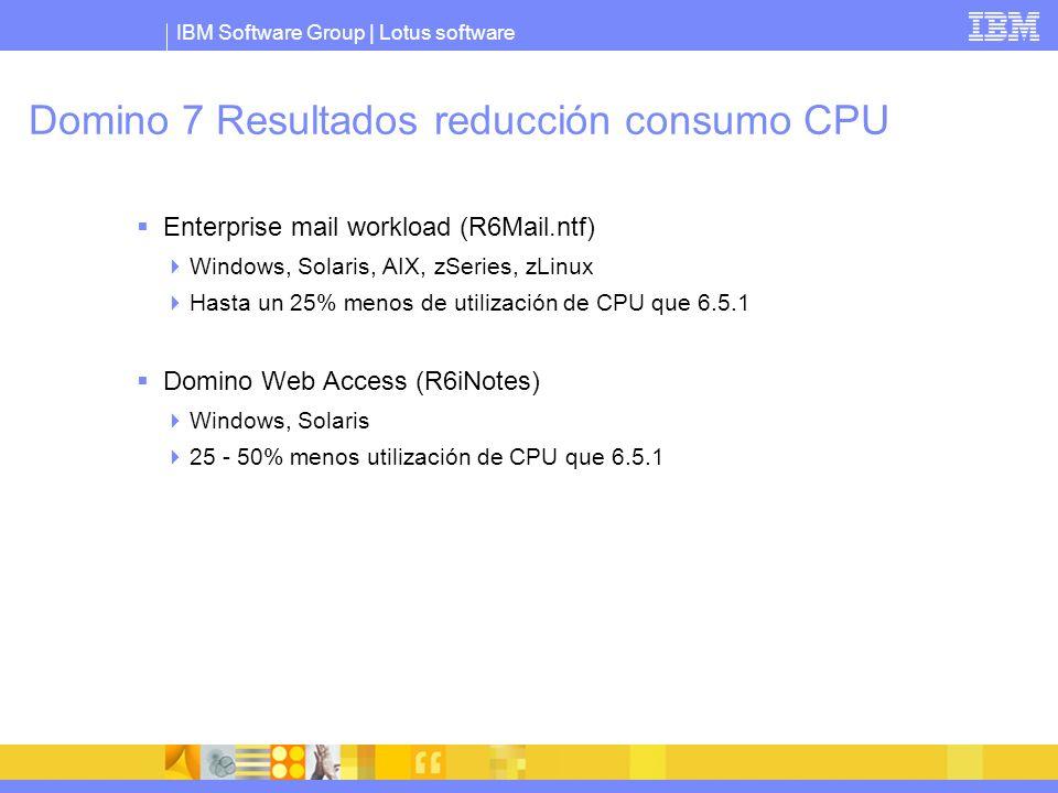 IBM Software Group | Lotus software Domino 7 Resultados reducción consumo CPU Enterprise mail workload (R6Mail.ntf) Windows, Solaris, AIX, zSeries, zL
