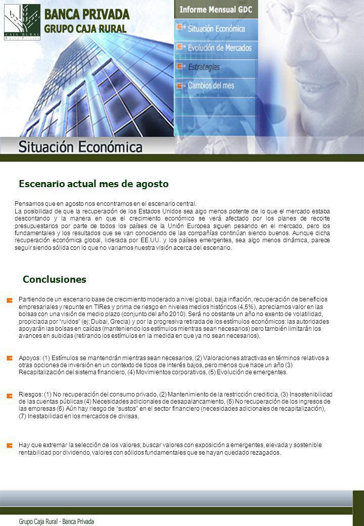7 Partiendo de un escenario base de crecimiento moderado a nivel global, baja inflación, recuperación de beneficios empresariales y repunte en TIRes y