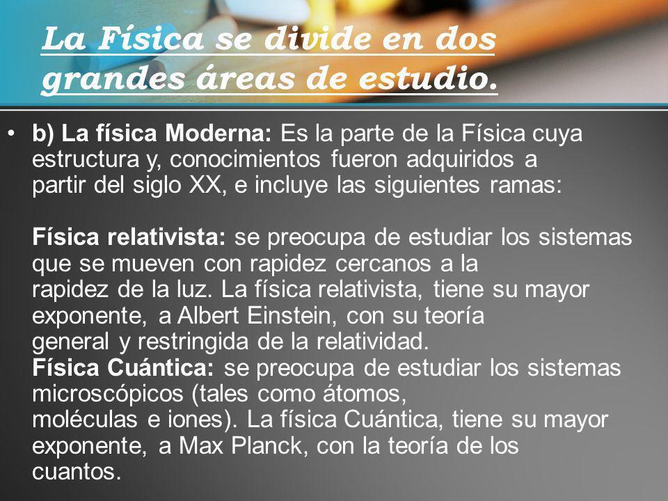b) La física Moderna: Es la parte de la Física cuya estructura y, conocimientos fueron adquiridos a partir del siglo XX, e incluye las siguientes rama