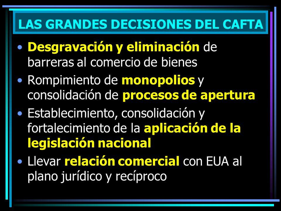 Desgravación y eliminación de barreras al comercio de bienes Rompimiento de monopolios y consolidación de procesos de apertura Establecimiento, consol