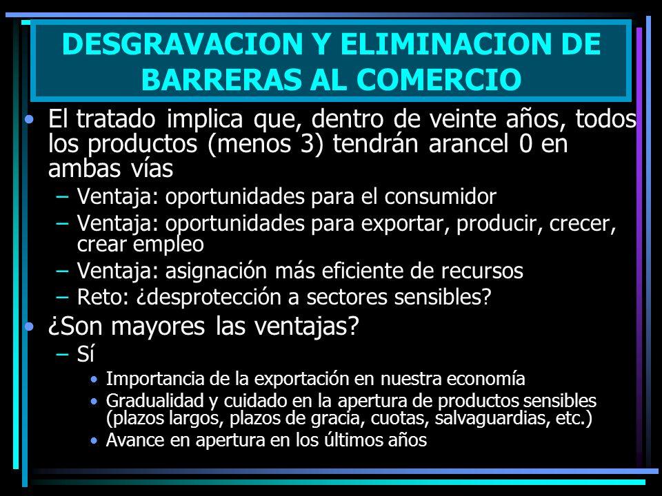 El tratado implica que, dentro de veinte años, todos los productos (menos 3) tendrán arancel 0 en ambas vías –Ventaja: oportunidades para el consumido