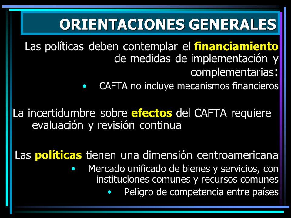 Las políticas deben contemplar el financiamiento de medidas de implementación y complementarias : CAFTA no incluye mecanismos financieros La incertidu