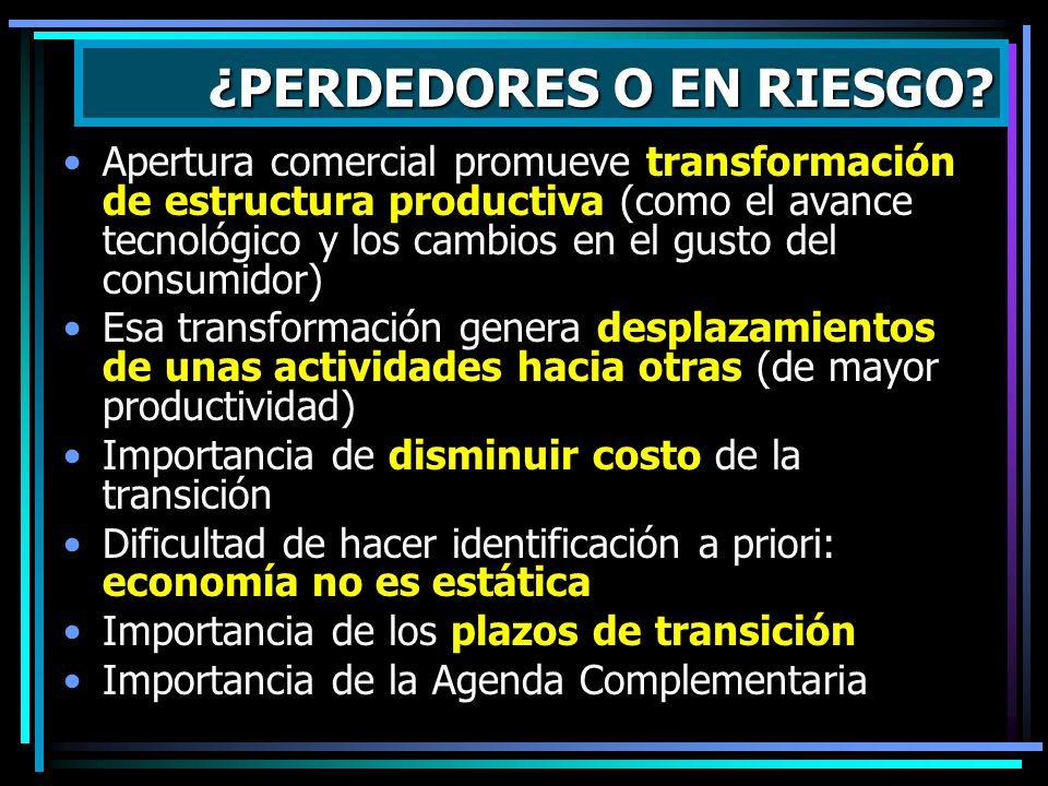 Apertura comercial promueve transformación de estructura productiva (como el avance tecnológico y los cambios en el gusto del consumidor) Esa transfor