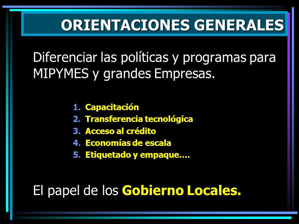 Diferenciar las políticas y programas para MIPYMES y grandes Empresas. 1.Capacitación 2.Transferencia tecnológica 3.Acceso al crédito 4.Economías de e