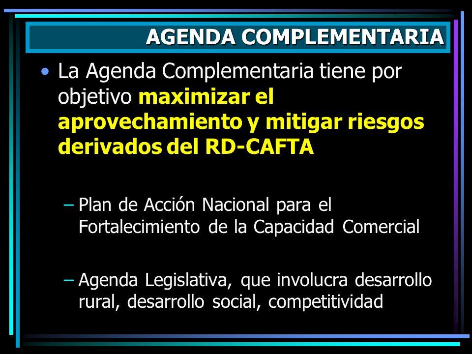 La Agenda Complementaria tiene por objetivo maximizar el aprovechamiento y mitigar riesgos derivados del RD-CAFTA –Plan de Acción Nacional para el For