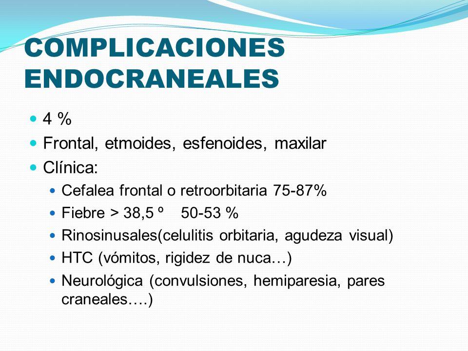 COMPLICACIONES ENDOCRANEALES 4 % Frontal, etmoides, esfenoides, maxilar Clínica: Cefalea frontal o retroorbitaria 75-87% Fiebre > 38,5 º 50-53 % Rinos