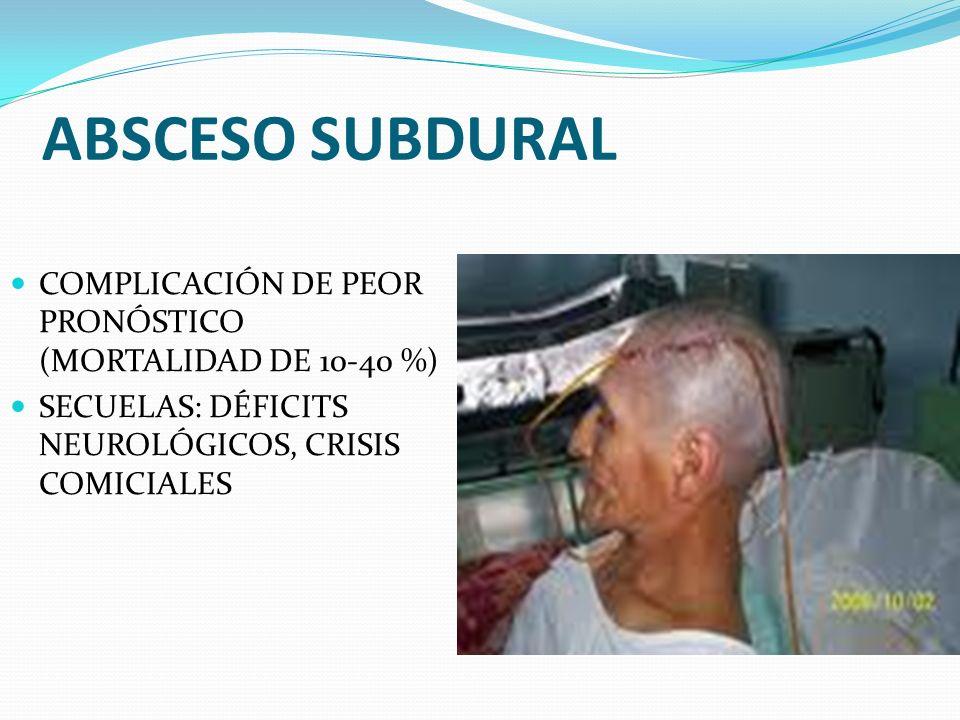 ABSCESO SUBDURAL COMPLICACIÓN DE PEOR PRONÓSTICO (MORTALIDAD DE 10-40 %) SECUELAS: DÉFICITS NEUROLÓGICOS, CRISIS COMICIALES