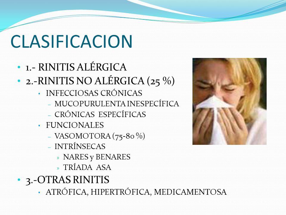 CLASIFICACION 1.- RINITIS ALÉRGICA 2.-RINITIS NO ALÉRGICA (25 %) INFECCIOSAS CRÓNICAS – MUCOPURULENTA INESPECÍFICA – CRÓNICAS ESPECÍFICAS FUNCIONALES
