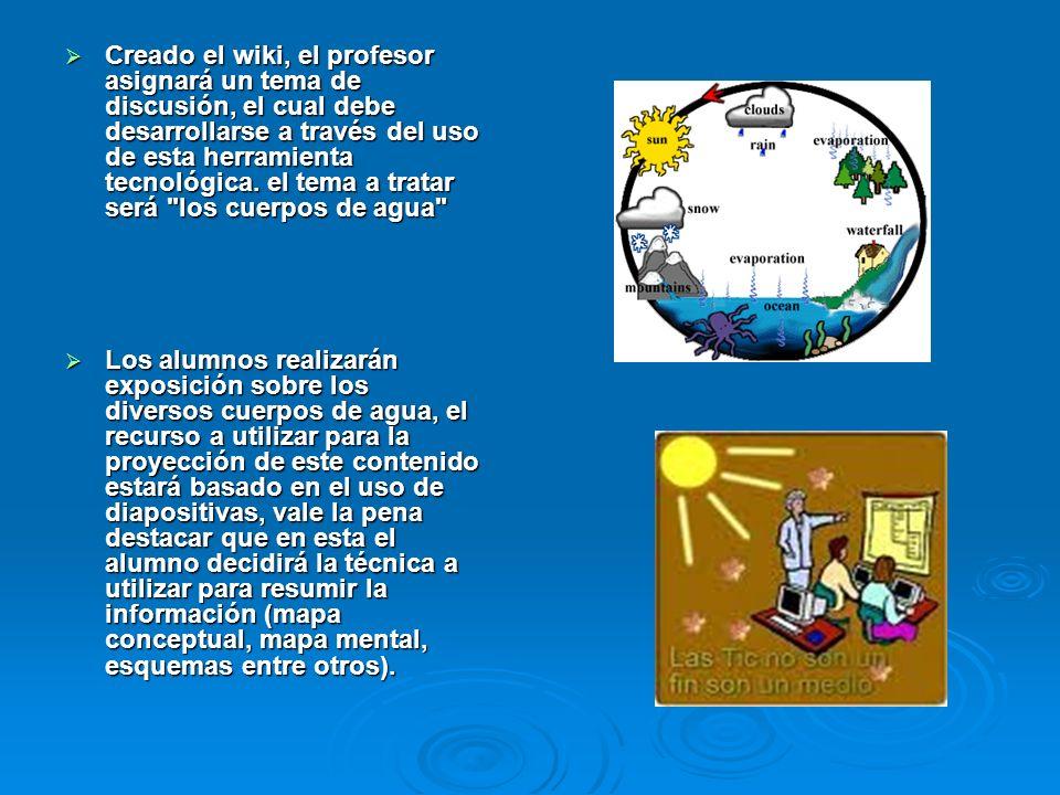 Creado el wiki, el profesor asignará un tema de discusión, el cual debe desarrollarse a través del uso de esta herramienta tecnológica. el tema a trat